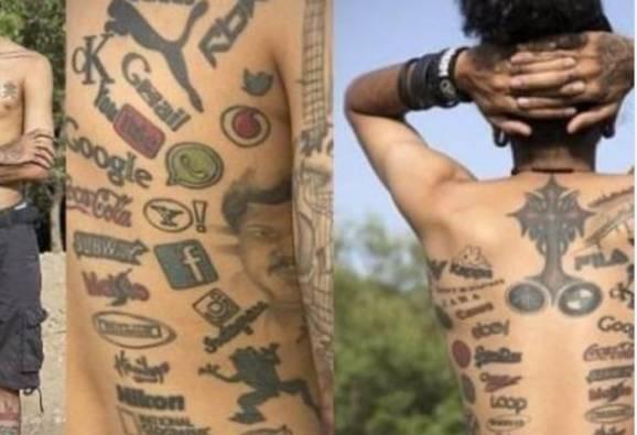 380 ब्रॅण्डचे लोगो टॅटूने गोंदले, मानेपासून पायापर्यंत अंगभर टॅटू