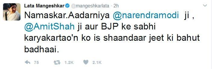 Lata Mangeshkar Tweet