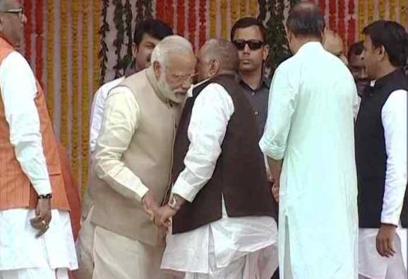 Know what mulayam whispered in Pm modis ear