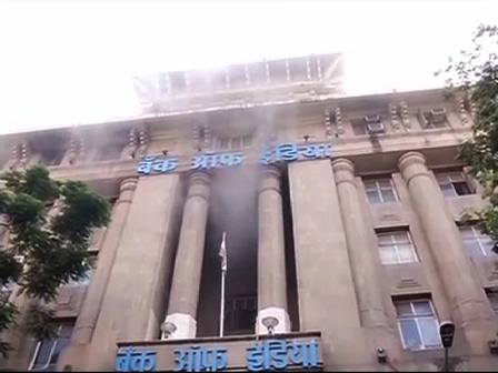 fire on bank of India Mumbai head office