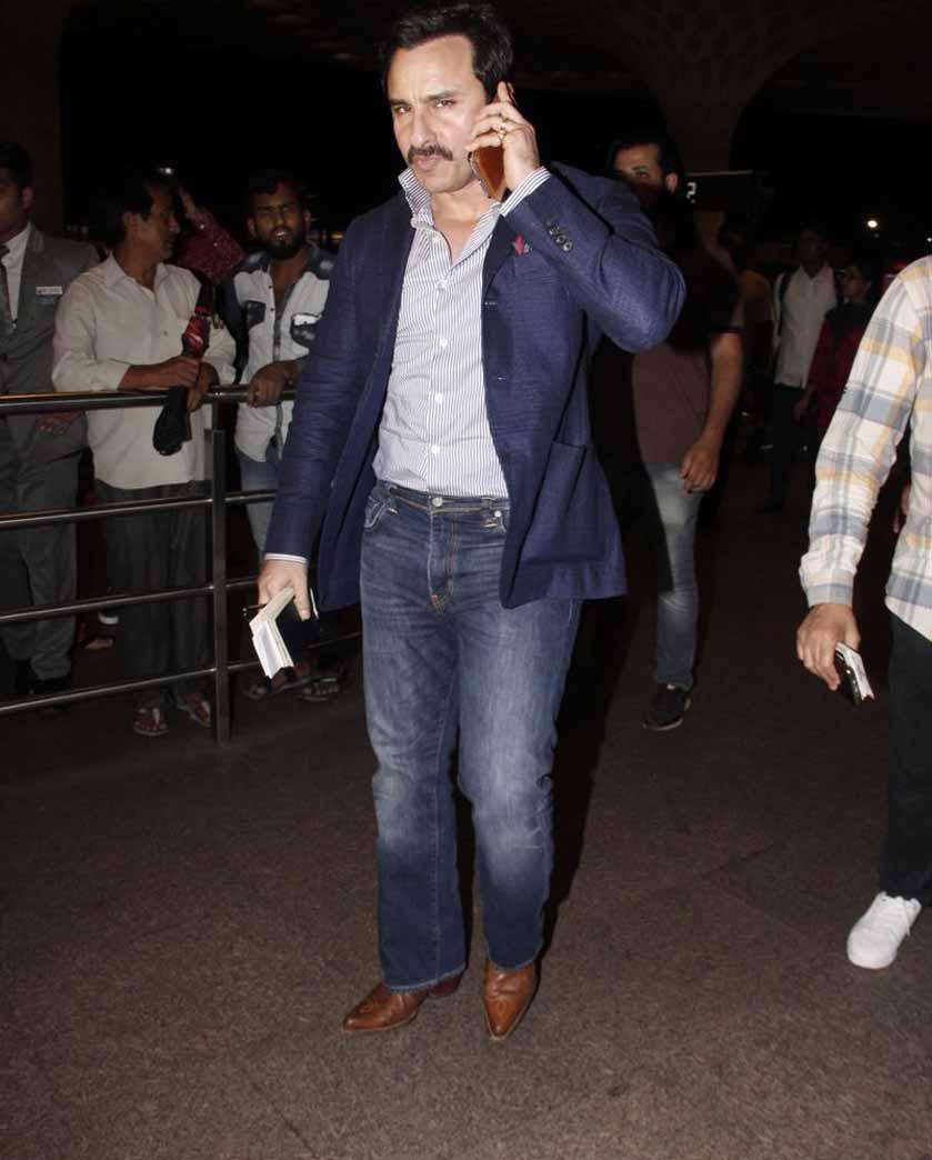 Saif ali khan leaves for new york with sara and ibrahim