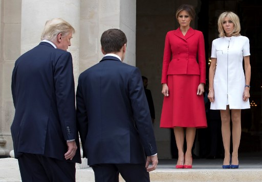 you are in a such good shape donald trump gives compliment  to french presidents wife
