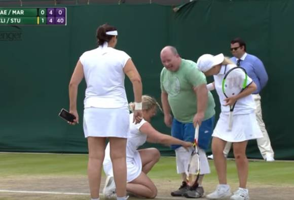 Wimbledon fan invited on court to put on skirt and face Kim Clijsters serve latest update