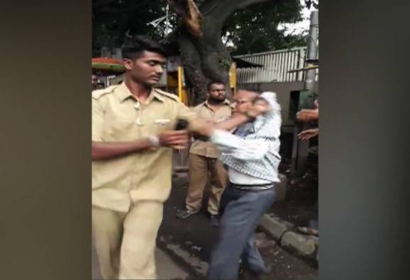 PMPML bus driver bit on senior citizen in front of pune new collector office