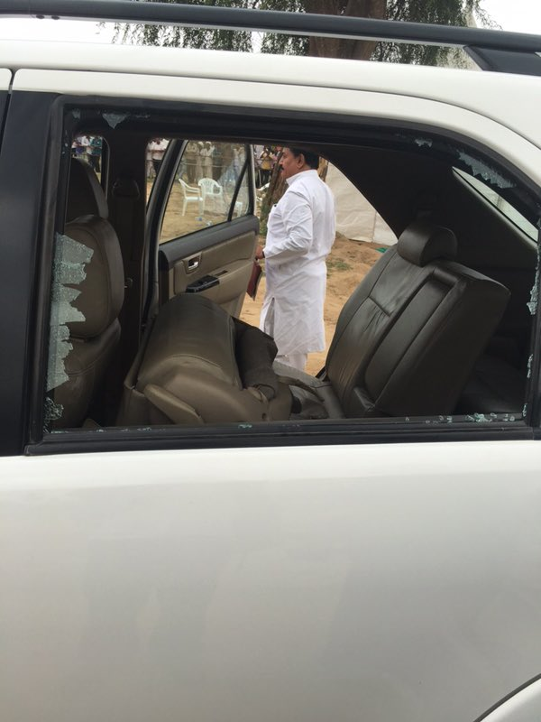 Rahul Gandhi's car pelted with stones in Dhanera town see pics