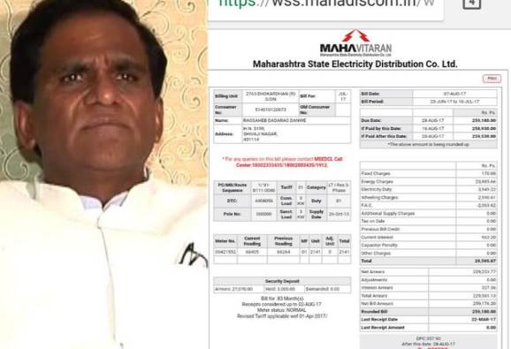 light bill dues on bjp maharashtra president raosaheb danve in jalna latest news updates