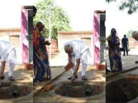 शौचालयासाठी पंतप्रधान मोदींनी स्वत: विटा रचल्या
