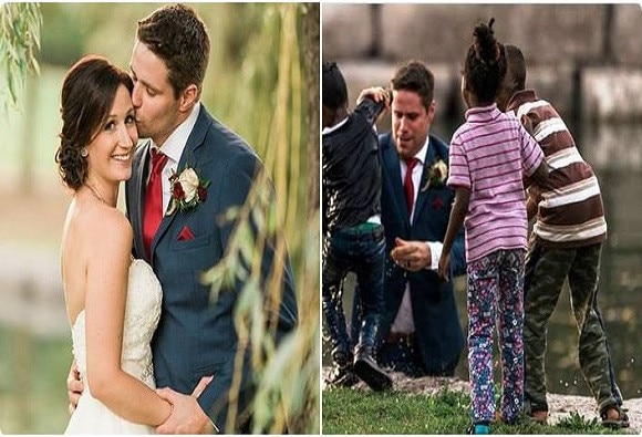 Canadian groom stops his wedding photo shoot midway to save a boy from drowning