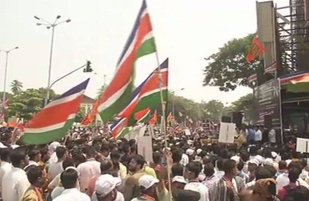 pics of MNS protest against railway