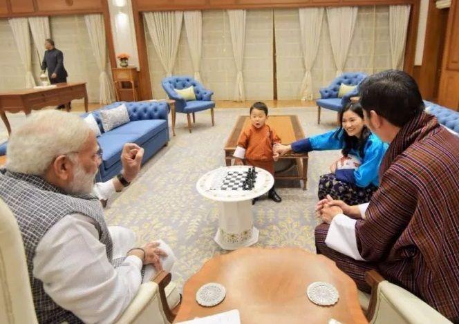 king of bhutan and family meets pm modi