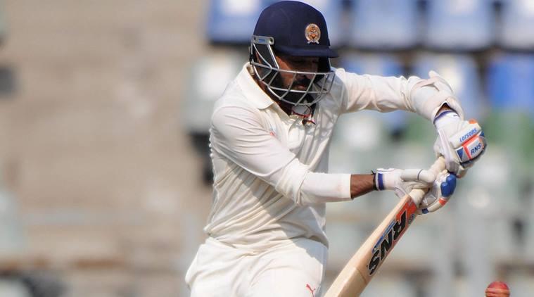 Mumbai  : Swepnil Singh of Baroda plays against Mumbai during a Ranji cricket match at Wankhede stadium in Mumbai on Friday. PTI Photo (PTI11_10_2017_000149A)