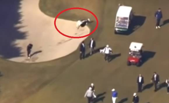 Pm Shinzo Abe falls down in golf ground