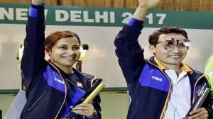Heena Sidhu and Jitu Rai after winning ISSF World Cup event