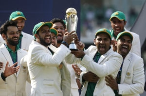 Pakistan celebrate winning the ICC Champions Trophy