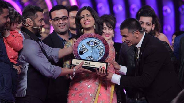 In Pics: Kishwer gets emotional when Salman & Prince gave her the Bigg Boss 9 winner's trophy