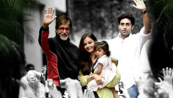 Amitabh waving at fans gathered at Jalsa with Abhishek, Aishwarya and Aaradhya