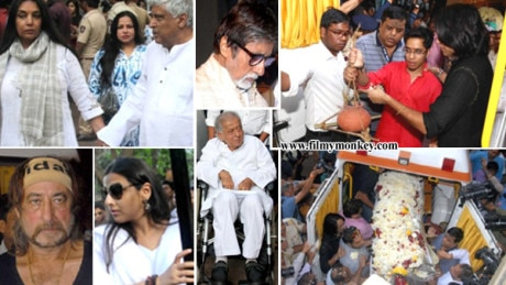 Om Puri's Funeral PICS: Ex and current wife Seema & Nandita, Celebs Amitabh Bachchan, Shashi Kapoor & others at funeral; Son Ishaan Lights Pyre!