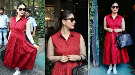 SEE PICS: New MOMMY Kareena Kapoor Khan looks RADIANT in RED as she steps out for a LUNCH DATE with her girl gang!