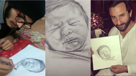 PHOTOS: This PIC of daddy Saif holding baby Taimur's SKETCH will melt your hearts !