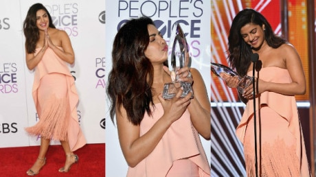 SEE PICS: Priyanka Chopra WINS 2nd consecutive People's Choice Award; 'Desi girl' shines on the RED CARPET in her peach avatar!