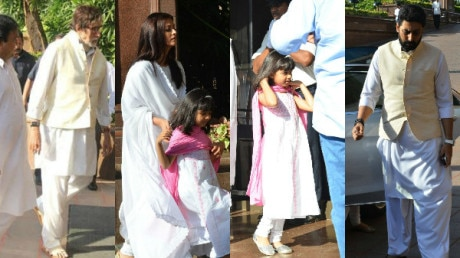 PHOTOS: Aishwarya Rai Bachchan with daughter Aaradhya & other family members at late father Krishnaraj Rai's chautha!