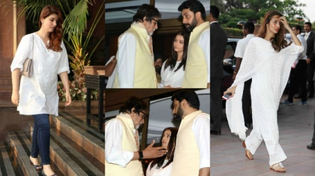 PHOTOS: Amitabh Bachchan CONSOLES grieving Aishwarya Rai at the prayer meet of her late father; Vidya Balan,Twinkle,Kajol, Shraddha Kapoor & other Bollywood celebs attend!
