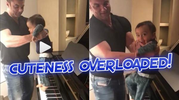 WATCH: Adorable video of MAMU Sohial Khan giving baby Ahil his first piano lessons!