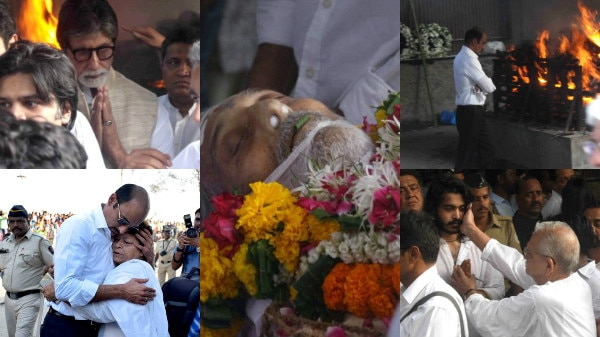 PICS- Vinod Khanna's last rites: Son Sakshi lights funeral pyre; Big B, Rishi Kapoor, Jackie Shroff & other Bollywood stars bid TEARFUL adieu to the superstar!