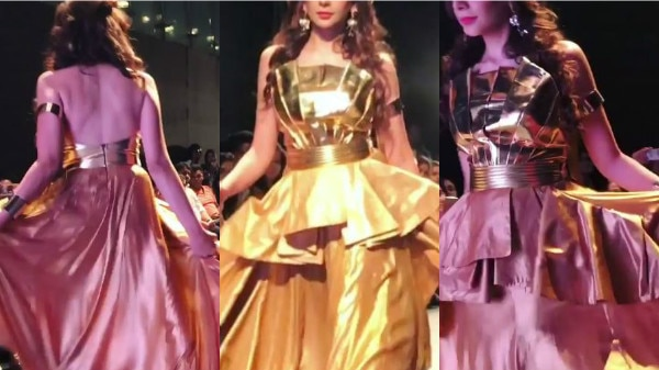 PICS & VIDEO: Bigg Boss 10 contestant Nitibha Kaul turns GOLDEN GIRL as she makes her ramp debut as SHOWSTOPPER!