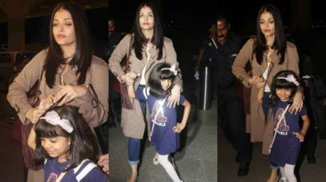 PHOTOS: Aishwarya Rai Bachchan's darling daughter Aaradhya POSES at the airport as she leaves for Cannes with her mommy!