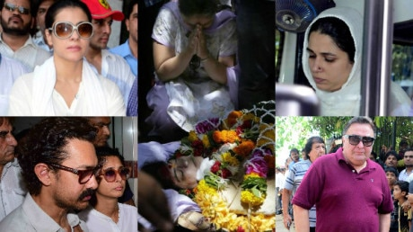 IN PICS: Reema Lagoo's funeral- Aamir Khan, Rishi Kapoor, Kajol & other Bollywood celebs get TEARY EYED as they attend last rites of the late actress!