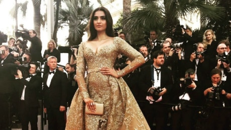 CANNES 2017, Day 6: Sonam Kapoor GLITTERS in a GOLD Elie Saab gown on the RED CARPET!
