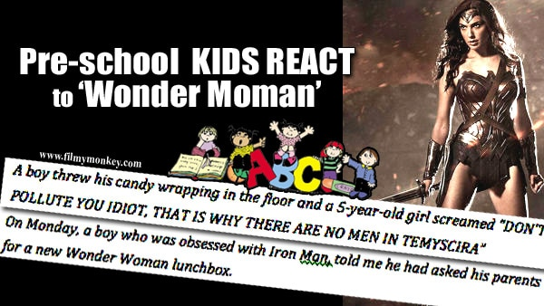 Kindergarten kids give AWESOME REACTIONS to 'Wonder Woman' in class!