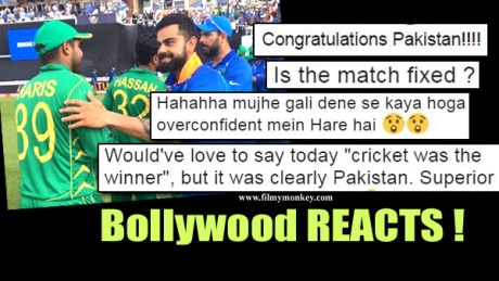 "Ind Vs Pak CT 2017 FINAL: Bollyood Celebs post Congratulatory msgs on Pakistan's WIN.. Some say ""is match fixed?"".. Fans LASH OUT!"