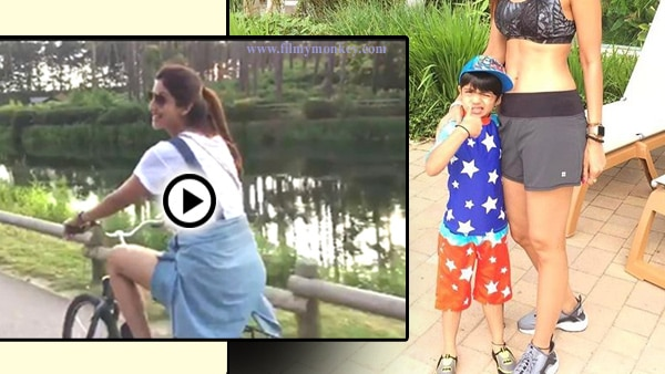 Shilpa Shetty posing with son Viaan Kundra in London; Family on a holiday for a week! Pics & Video!