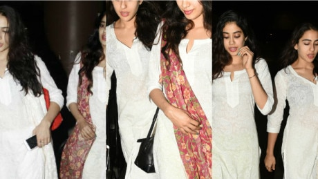 SAME SAME! Saif's daughter Sara & her BFF Jhanvi Kapoor SNAPPED at the airport TWINING in white & they looked simply GORGEOUS!