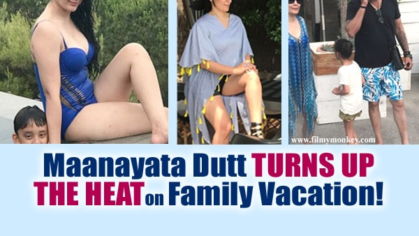 NEW PICS: Maanayata Dutt raising temperature in France in a blue swimsuit with Sanjay Dutt & kids!