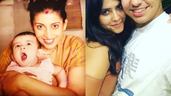 Ekta Kapoor poses with Smriti Irani's 16-year-old son Zohr who was born during 'Kyunki Saas Bhi Kabhi Bahu Thi'!