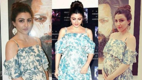 PICS: PREGNANT Soha Ali Khan flaunts her BABY BUMP looking stylish at an art exhibition!