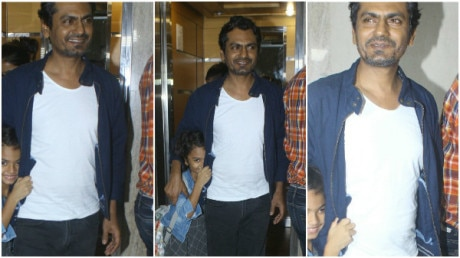 SEE PICS: Nawazuddin Siddiqui's super-cute daughter hides from paparazzi during 'Munna Michael' screening!