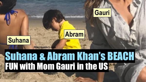Bikini clad Suhana Khan soaks up the sun while Abram plays with sand on Malibu beach posing with Mom Gauri!