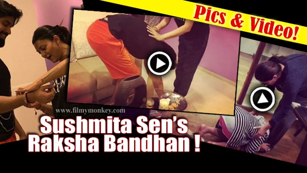 Pics & Video! Sushmita Sen's brother Rajeev touches her feet during Raksha Bandhan & the Mom plays brother to her daughters!