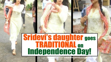PICS: Sridevi's daughter Jhanvi Kapoor elegant in a traditional attire with one plait on Independence Day!
