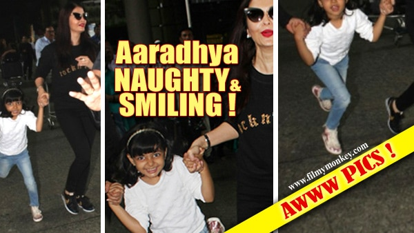 PICS: Aaradhya Bachchan's RARELY SEEN naughty, jumping & smiling avatar on return from Australia will steal your hearts!