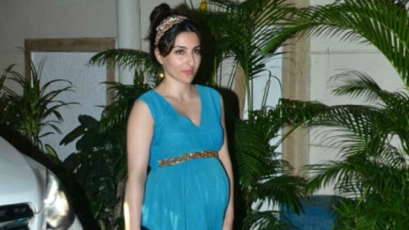 SEE PICS: Pregnant Soha Ali Khan flaunts her huge BABY BUMP in a blue gown at brother Saif's birthday bash!