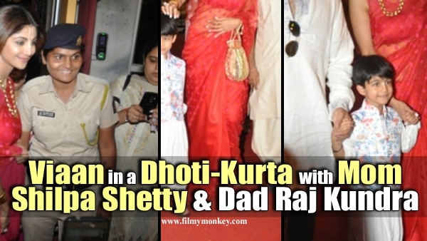 PICS: Shilpa Shetty ravishing in red saree & son Viaan in a dhoti-kurta during ISKCON temple visit on Janmashtmi!