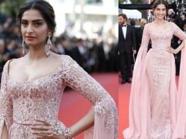 Cannes 2017: રોઝ ગોલ્ડ ડ્રેસમાં સોનમ લાગી બ્યુટીફુલ, જુઓ તસવીરો