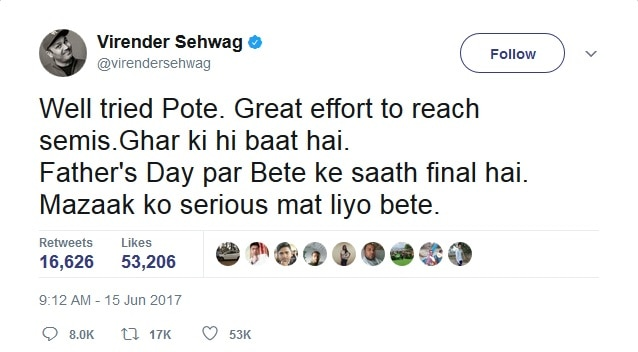 2-india vs pakistan virendra sehwag tweet champions trophy for final and semifinal