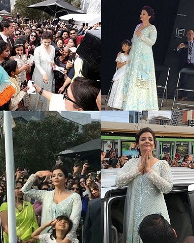 9-Aishwarya Rai Bachchan and daughter Aaradhya hoist Indian flag in Melbourne