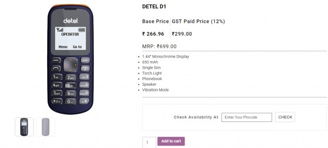 2-detel india launched single sim mobile at rs 299